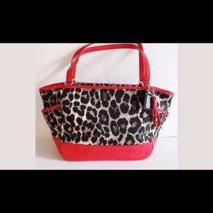 New red Coach leopard canvas handbag